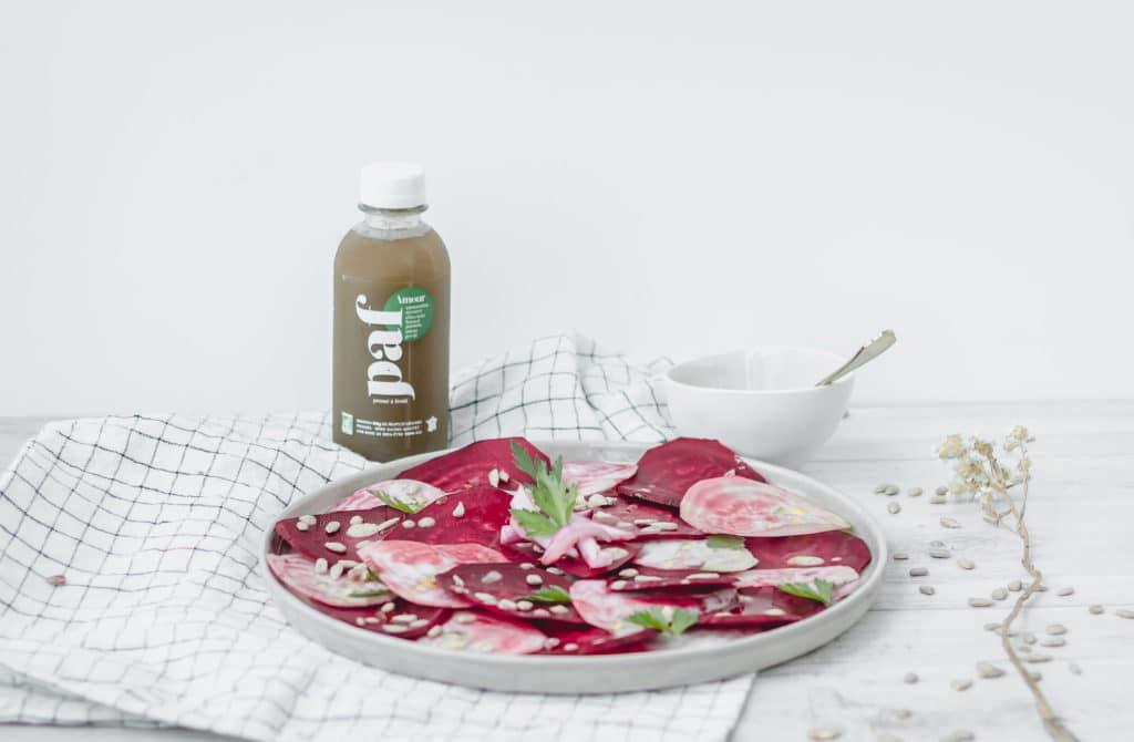 Recette healthy - Carpaccio de betterave et sauce tahini